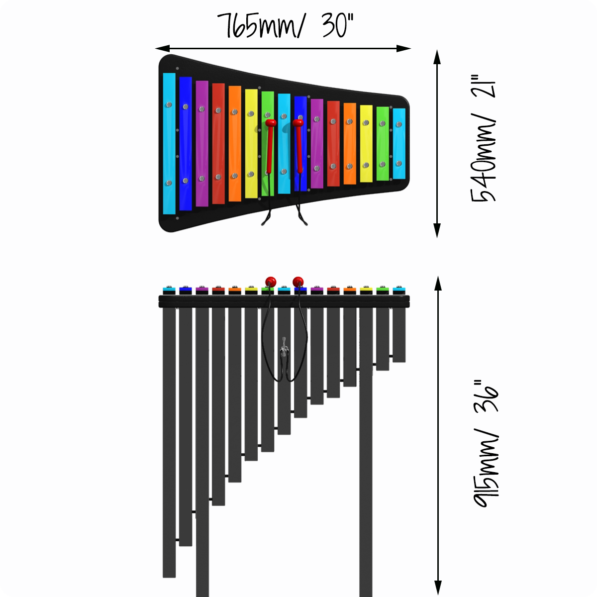 Capella Percussion Play Xylophone Notes Diagram Dimensions 1